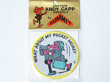 VINTAGE ANDY CAPP SUMMIT SOUVENIRS EMBROIDERED PATCH WOVEN CLOTH SEW-ON BADGE