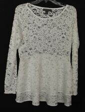 A Pea In The Pod Ivory/Cream Shirt Lace Material Maternity Size L - EUC!!