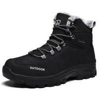 Winter Men's Plus Fur Hiking Boots High Top Leather Outdoor Snow Walking Boots