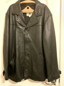 MEN'S MISTY HARBOR LEATHER JACKET BLACK 4 Button Close Insulated 3XL Preowned