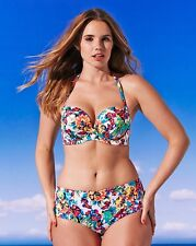 Gossard Hot Tropic Strapless Push Up Bandeau Floral Bikini Set 38FF & 16 Brief