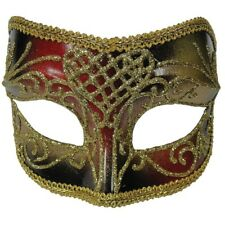Red & Gold Men's Eye Mask - Fancy Dress Masquerade Party Glasses Style All