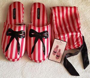 Victoria's Secret Signature Satin Slippers Stripe & Matching Bag Red/Pink 7/8
