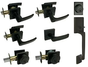 Matte Black Square Plate door locks Knobs handle lever entry privacy deadbolt
