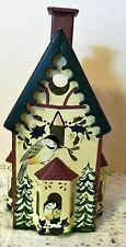 1999 Lenox Winter Greetings Toleware Chickadee Birdhouse Votive #6049696~Iob