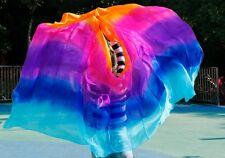 100% real silk belly dance veil cheap dance veils wholesale 250*114 cm 5 color