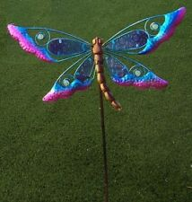 Garden Lawn Yard Decoration bird Purple Dragonfly glass & metal pick stake NEW