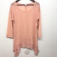 Sundance Women's Blouse Orange Linen Blend Asymmetric Hem 3/4 Sleeve Size XL