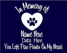 In Memory of Dog  Custom Car Vinyl Decal Window Sticker Paw Prints