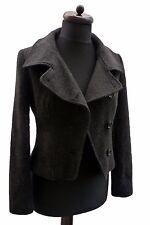 MISS MICKY Wool Blend Grey Double Breasted Biker Style Coat Jacket Blazer 10 38