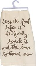 """Bless The Food Before Us~Family Beside.~Tea Towel 28""""~Hand/Kitchen/Dis h/Cotton"""