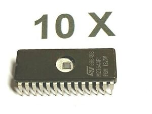 10 x M2764A FI, 180ns,5V, NMOS 64 Kbit (8Kb x 8) UV EPROM, progm.12,5V, 10 Stück