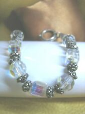 """LG.1/2"""" FACETED  PRETTY IRIDESCENT BEADS N SILVER TONE TOGGLE BRACELET FIT 6-1/2"""