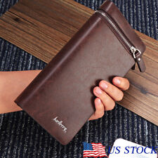NEW Men's Leather Wallet Large Capacity Long Card Holder Purse Business Bag US