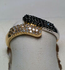 .25cttw Black & White Diamond Bypass Pauve' 2-Tone 14KT solid Gold Ring #3062A