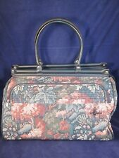 """ATLANTIC Travel Bag Carry On Luggage 18"""" Forest Green Tapestry ~ EXC VINTAGE"""