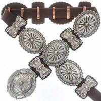 Navajo CONCHO BELT SECOND PHASE STYLE Hand Hammered Sterling Silver - T Ahasteen