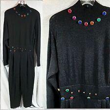 New listing 80s Vintage Antonella Preve Jumpsuit Black Santana Knit Rhinestones Size Medium