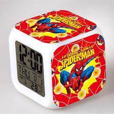 Spider-Man Figures Doll Color Changing Night Light Alarm Clock Kids Boy Girl Toy