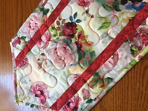Handcrafted - Quilted Table Runner - Valentine Roses -With a Touch of Green