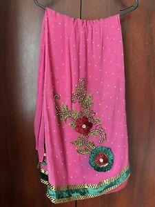 Pink Sequinned Indian Sari Fabric