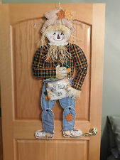 ~ Handmade Quilted Scarecrow ~ Fall Decoration Hayride 5 Cents Sign Straw Leaves