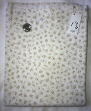White w/ Olive Roses Flower Quilting Sewing Floral Fabric 1 17/18 Yards X 44""