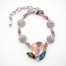 Mother of Pearl Pink Tulip Flower Rhinestone Dangle Shell Link Charm Bracelet