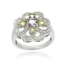 925 Silver Amethyst, Peridot and Diamond Accent Flower Design Ring Size 8