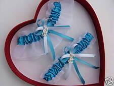 Double Heart Wedding Garter SET TURQUOISE / WHITE Prom