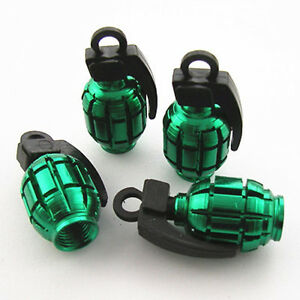 4 Pcs Green Grenade Style Wheel Tire Tyre Valve Caps Stems Dust Cover For BMW
