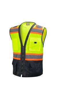 Surveyor Black/ Yellow Two Tones Safety Vest, ANSI/ ISEA  Photo ID Pocket (802)