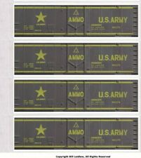 4 different Army Ammo, S scale boxcars, metal-era printed sides