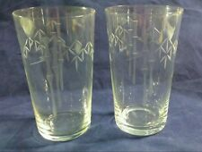 2  Noritake Sasaki Etched Bamboo Crystal Glass Juice Drink Small 6 oz Delicate