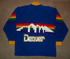 Vtg AUTHENTIC 1980s DENVER NUGGETS SAND KNIT Rainbow Logo NBA Jersey JACKET 42 L