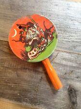 Vintage U.S. Metal Toy Mfg. Co. / Halloween Metal Noisemaker/ Witch/  Black Cat