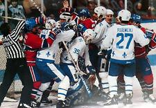MONTREAL CANADIEN VS QUEBEC NORDIQUES BRAWL NOSTALGIA HOCKEY COLOR PHOTO  P35