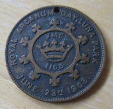 1903 Royal Arcanum  Day Luna Park/Royal Arcanum Bowling Leagues MEDAL