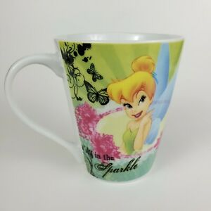 """Disney Tinkerbell Tink Coffee Mug Cup  """"All in the Sparkle"""" Floral  Jerry Leigh"""