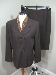 NWT! JACKQUELINE FERRAR Brown/Copper Striped Skirt Suit Sz 14 $199