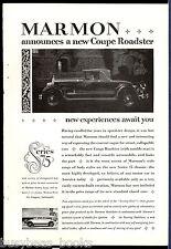 1926 MARMON advertisement, 1927 Marmon Coupe Roadster