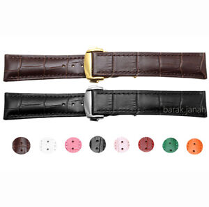 18mm Genuine Leather Straps For Omega Watches Band With Deployment Clasp Buckle