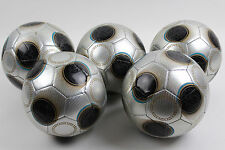 5 Soccer Training Ball size #4 Silver Metallic Chrome black Lot Team Sport Games