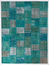 Turquoise, Teal, Aqua Blue, Royal Blue colors Overdyed Handmade PATCHWORK RUGS