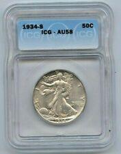 1934 S Walking Liberty Half Dollar ICG AU58 Lustrous Well Struck Key Date