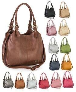 Womens Multiple Pockets Medium Size Plain Handbag with a Long Shoulder Strap