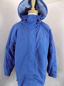 Columbia Women's Nylon Ski Parka Jacket Sz L Large Blue Hoodie Coat Fleece Lined