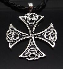 Wholesale 10 Pcs Celtic Knot Iron Cross Silver Pewter Pendant Necklace PP#263