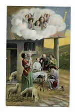 Christmas Nativity Scene Vintage Embossed Postcard Printed in Saxony 158615