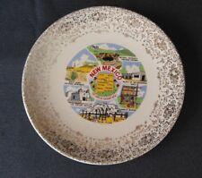 "Vintage New Mexico Decorative Collectible Souvenir State Plate 9 7/8"" Gold Trim"